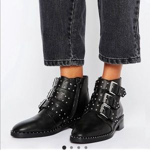 Asos studded leather ankle booties